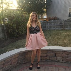 Dresses & Skirts - Pink and black homecoming dress with gems on it